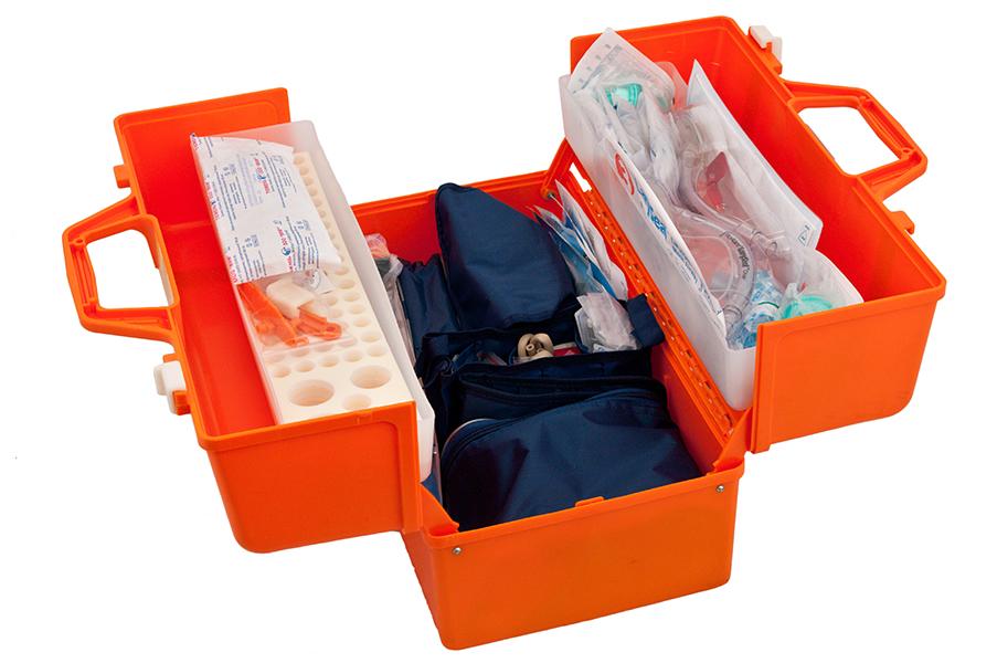 Набор реанимационный для оказания скорой медицинской помощи НРСП-01-«МЕДПЛАНТ» в футляре-саквояже УМСП-01-П с набором для коникотомии с аспиратором